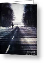 Man Walking On A Rural Winter Road Greeting Card by Sandra Cunningham