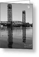 Moon Over The Rio Vista Drawbridge In Rio Vista California Greeting Card by Wingsdomain Art and Photography
