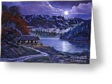 Moonlit Cabin Greeting Card by David Lloyd Glover