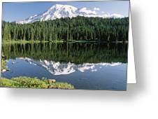 Mt Rainier Reflected In Lake Mt Rainier Greeting Card by Tim Fitzharris