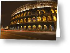 Night Lights Of The Colosseum Rome Greeting Card by Trish Punch