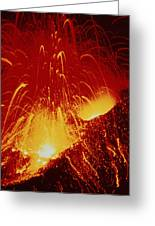 Night View Of Eruption Of Alaid Volcano, Cis Greeting Card by Ria Novosti