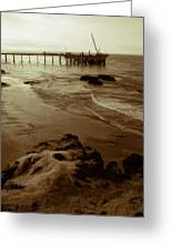 Oil Pier Greeting Card by Ron Regalado