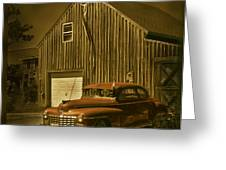 Old Car Old Barn Greeting Card by Jim Wright