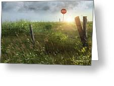 Old Country Fence On The Prairies Greeting Card by Sandra Cunningham