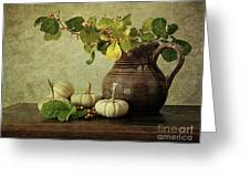Old Pitcher With Gourds Greeting Card by Sandra Cunningham