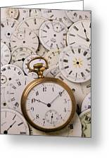 Old Pocket Watch On Dail Faces Greeting Card by Garry Gay