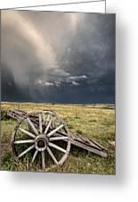 Old Prairie Wheel Cart Saskatchewan Greeting Card by Mark Duffy