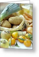 Organic Fruits And Vegetables Greeting Card by David Munns