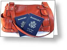 Passports With Orange Purse Greeting Card by Blink Images