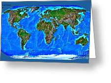 Physical Map Of The World Greeting Card by Theodora Brown