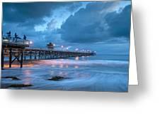 Pier In Blue Greeting Card by Gary Zuercher