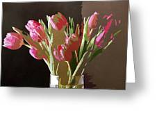 Pink Tulips In Glass Greeting Card by David Lloyd Glover