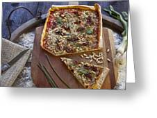 Pizza With Herbs Greeting Card by Joana Kruse