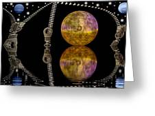 Planets And Zippers Greeting Card by Odon Czintos