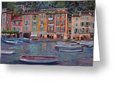 Portofino Al Crepuscolo Greeting Card by Guido Borelli