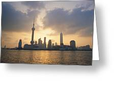 Pudong Skyline, Seen Greeting Card by Justin Guariglia