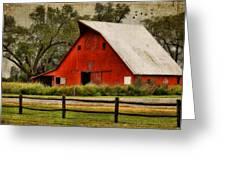 Red Barn Greeting Card by Joan Bertucci