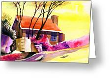Red House Greeting Card by Anil Nene
