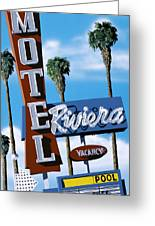 Riviera Motel Greeting Card by Anthony Ross