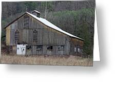 Rustic Weathered Mountainside Cupola Barn Greeting Card by John Stephens