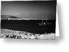 Sailing Boat Moored In A Quiet Bay Near Cape Gkreko Greco Republic Of Cyprus Greeting Card by Joe Fox