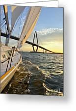 Sailing On The Charleston Harbor During Sunset Greeting Card by Dustin K Ryan
