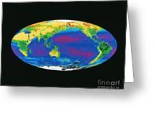 Satellite Image Of The Earths Biosphere Greeting Card by Dr. Gene Feldman, NASA Goddard Space Flight Center
