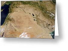 Satellite View Of The Middle East Greeting Card by Stocktrek Images