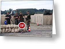 Scenery Of A Checkpoint Used Greeting Card by Luc De Jaeger