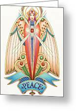 Scroll Angels - Pax Greeting Card by Amy S Turner