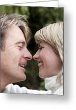 Smiling Couple Embracing Greeting Card by Ian Boddy