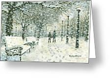 Snowing In The Park Greeting Card by Kalen Malueg