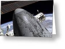 Space Shuttle Discovery Docked Greeting Card by Stocktrek Images