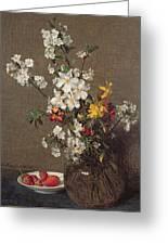 Spring Bouquet Greeting Card by Ignace Henri Jean Fantin-Latour