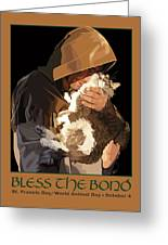 St. Francis With Cat Greeting Card by Kris Hackleman