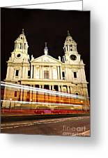 St. Paul's Cathedral In London At Night Greeting Card by Elena Elisseeva