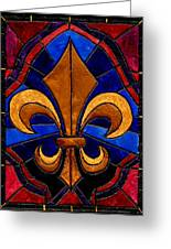 Stained Glass Fleur De Lis Greeting Card by Elaine Hodges