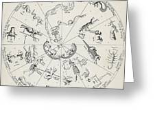 Star Map From Kirchers Oedipus Greeting Card by Science Source