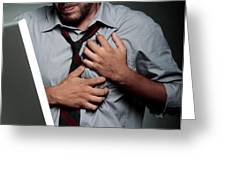 Stress-related Heart Attack Greeting Card by Mauro Fermariello
