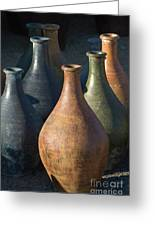 Sunrise And Pottery Greeting Card by Sandra Bronstein