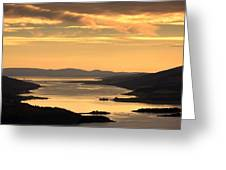 Sunset Over Water, Argyll And Bute Greeting Card by John Short