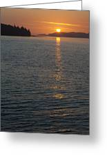 Sunset With The Mountains Of Vancouver Greeting Card by Taylor S. Kennedy