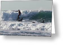 Surfers At Porthtowan Cornwall Greeting Card by Brian Roscorla