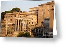 Temple Of Saturn In The Forum Romanum. Rome Greeting Card by Bernard Jaubert