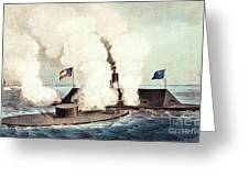 The Monitor And The Merrimac, 1862 Greeting Card by Photo Researchers