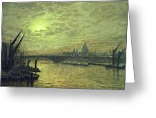 The Thames By Moonlight With Southwark Bridge Greeting Card by John Atkinson Grimshaw