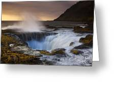 Thor's Well Greeting Card by Keith Kapple