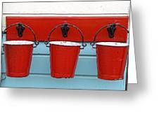 Three Red Buckets Greeting Card by John Short
