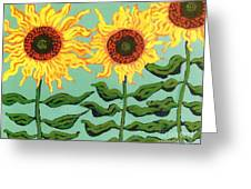 Three Sunflowers Greeting Card by Genevieve Esson